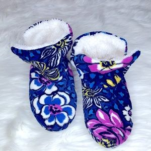 Vera Bradley Cozy Slipper Booties Blue and Purple